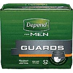 "Depend  Guards for Men 12"" L, Adhesive Strips, Maximum Absorbency - PK of 52 EA"