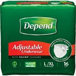 "Depend ® Adjustable Super Plus Absorbency Underwear Large/Extra-Large, 44"" to 64"" Waist, Latex-free - BG of 16 EA"