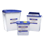 Kendall Healthcare PharmaSafety Sharps Disposal Gasketed Container, 2 gal, Hinged Lid - CA of 20 EA