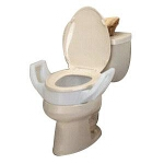 Mabis DMI Healthcare Elongated Toilet Seat Riser with Arms, Weight Capacity: 300 lb, Weight: Less Than 4 lb, Arm Height: 7-1/4