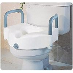 Medline Industries Elevated Toilet Seat with Handles 250 lb, Polypropylene Resin - 1 EA