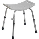 Medline Industries Easy Care Shower Chair without Back 250 lb, Gray, Lightweight, Anodized Aluminum Frame - 1 EA