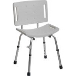 Medline Industries Easy Care Shower Chair with Back 250 lb, Gray, Lightweight, Anodized Aluminum Frame - 1 EA