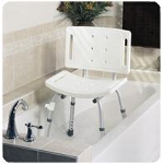 Medline Industries Easy Care Shower Chair with Backrest 250 lb, White, Knock Down, Retail, Unassembled, Retail - 1 EA