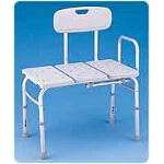 Medline Industries Guardian Molded Transfer Bench, 300 lb, Textured, Molded Backrest, Seating Surface - 1 EA