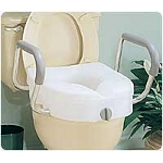 Carex ® E-Z Lock Raised Toilet Seat with Arms, 15-1/2
