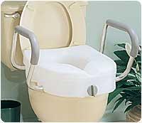 Carex E Z Lock Raised Toilet Seat With Arms 15 1 2 W X 17 D X