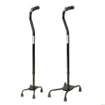 Medline Industries Guardian ® Large Base Push Button Bariatric Quad Cane, Black, 29
