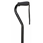 Mabis DMI Healthcare Deluxe Adjustable Aluminum Cane with Offset Handle Black, 31