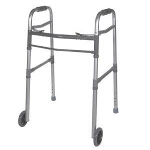 "Deluxe Adult Folding Walker, Two Button with 5"" Wheels, 350 lb Weight Capacity - 1 EA"