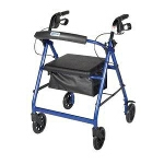 Aluminum Rollator with Fold Up and Removable Back Support and Padded Seat, Blue - 1 EA