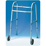 Carex Health Brands Single-button Fixed Wheeled Walker with Glides 24 1/2