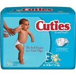 Prevail ® Cuties Baby Diapers for Kids Size 3, 16 to 28 lb - Qty: BG of 36 EA