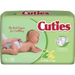 Prevail ® Cuties Baby Diapers for Kids Size 2, 12 to 18 lb - Qty: BG of 42 EA