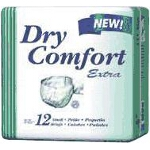 "Dry Comfort Extra Brief Small, 23"" to 33"" Waist, Green, Disposable - Qty: PK of 12 EA"