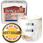 "Tranquility ATN All-Through-The-Night Disposable Briefs ( Large Size 45""-58"" ) 72/Case -Each Pair Holds 34 Ounces of Fluid"