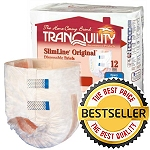 Tranquility SlimLine Fitted Briefs ( Sizes: Junior, Extra Small, Small, Medium, Large, XL ) Each Pair Holds 10-24 Ounces of Fluid