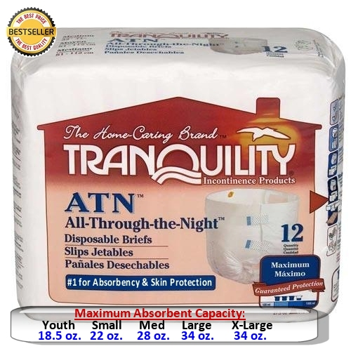 Tranquility Atn All Through The Night Disposable Briefs